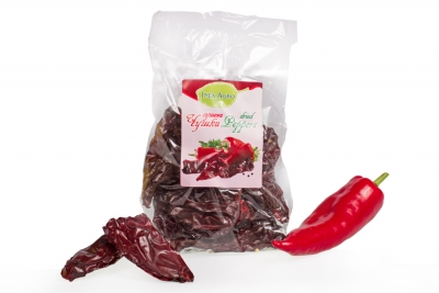 Dried whole sweet red peppers without stem and seeds
